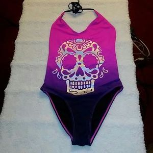 Hot Topic 1pc Pink & Purple Skull Swim Suit